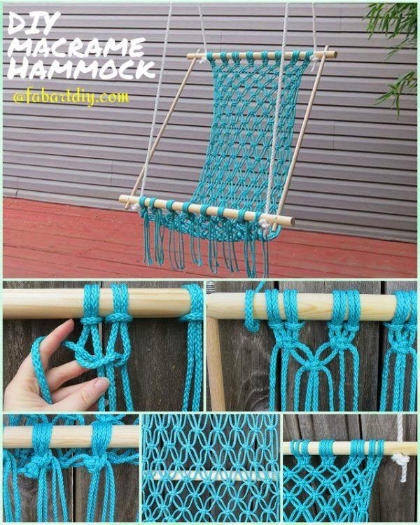 5 Easy DIY Hammocks to Enjoy in Summer-DIY Macrame Hammock Chair Outdoor  #DIY, #Macrame