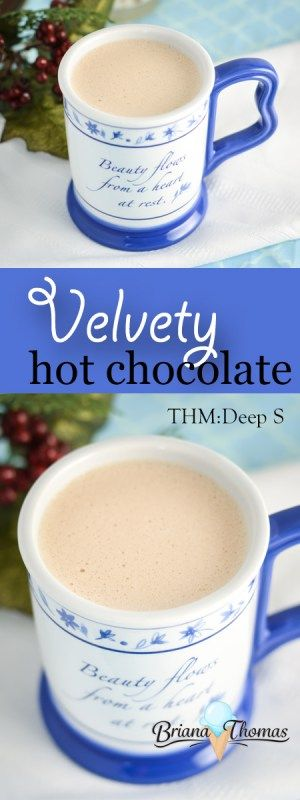 Velvety Hot Chocolate...low carb, sugar free, THM: Deep S, gluten/egg free with nut free suggestion (Bulletproof style)