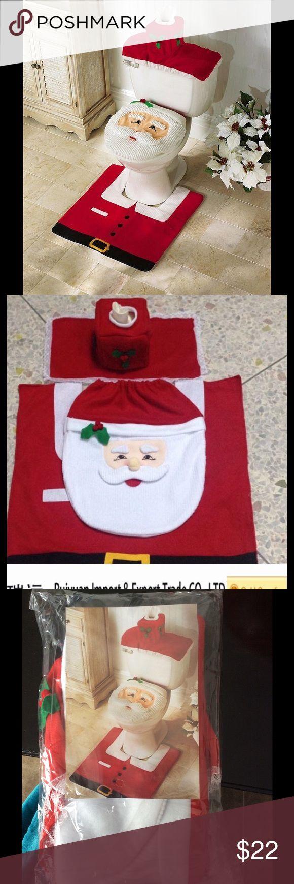 New⛄️ Santa toilet seat & Rug Set 3 Pcs Happy Santa Toilet Seat Cover and Rug Bathroom Set                                       Toilet Seat Cover Size: 43 x 35.5cm  Rug Size: 55 x 55cm  Color: Red Weight: 0.27kg Other
