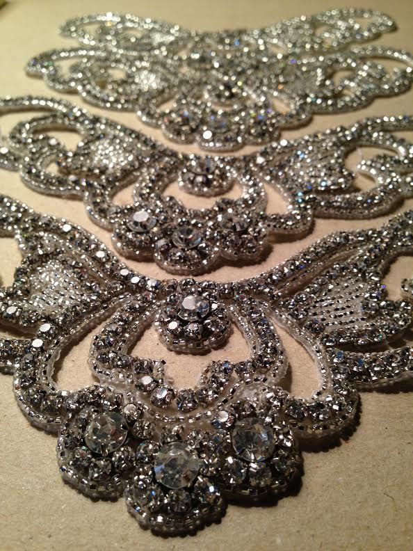 Crystal Cake Appliqués - Set of 4 in SILVER or GOLD