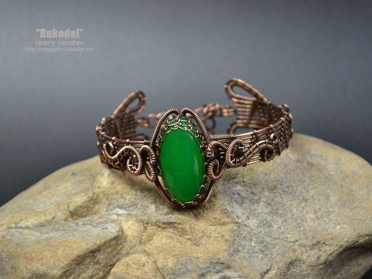 Wire Wrapped Bracelet. Natural cabochon от vorobev на Etsy