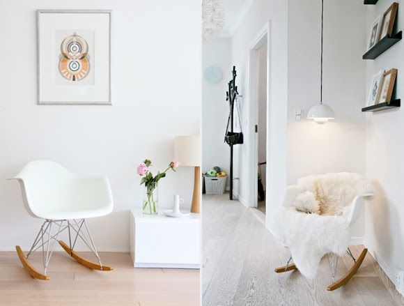 Eames Rocking Chair : White eames rocking chairs in an interior pour le condo salon