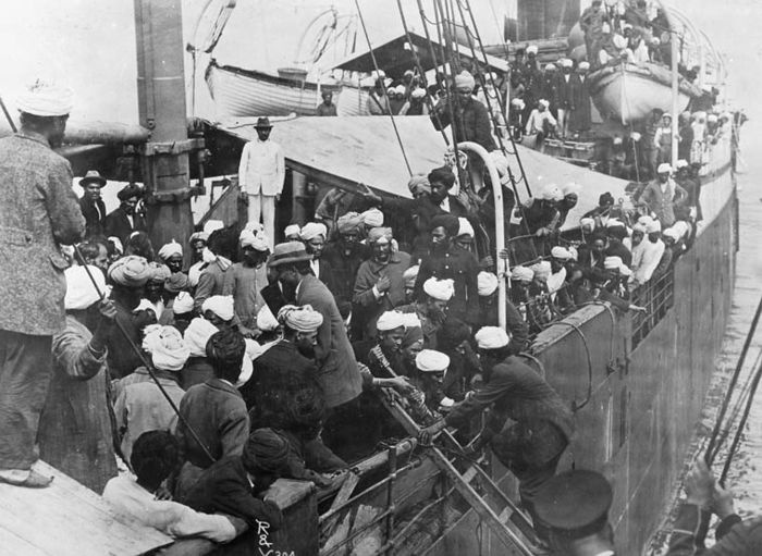 The Komagata Maru was a Japanese steamship that sailed from Punjab, India to Hong Kong to Shanghai, China and Yokohama, Japan in 1914 Picture: Sikhs on the steamship in Vancouver's Burrard Inlet.