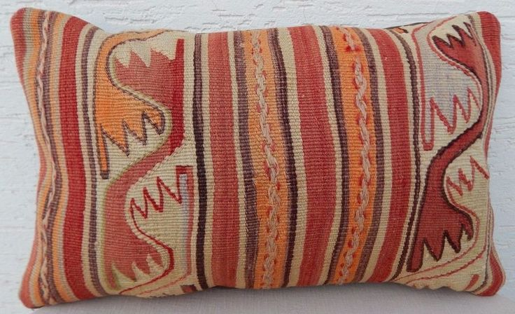 12''X 20'' Turque Kilim Coussin,Faded Pale Outdoor Kilim Rug Lumbar Pillow Cover #Handmade #AntiqueStyle