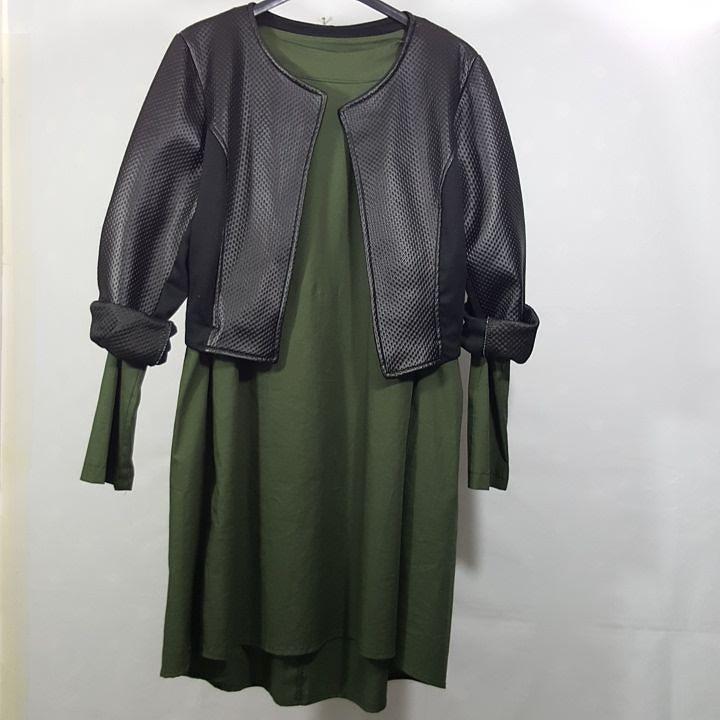 #abito #cotone #piegoni #dietro #giubbino #bolero #corto #similpelle #valeria #abbigliamento