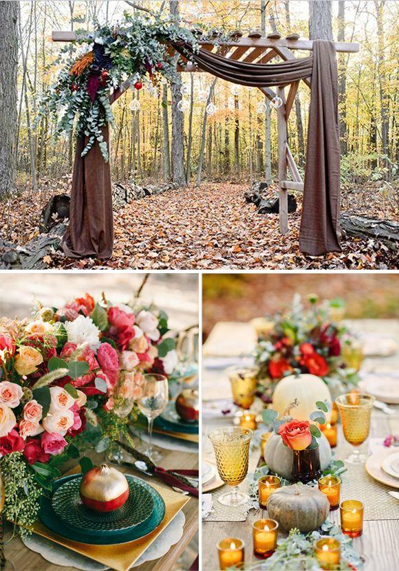 Bodas de otoño arco altar hojas secas centro mesa