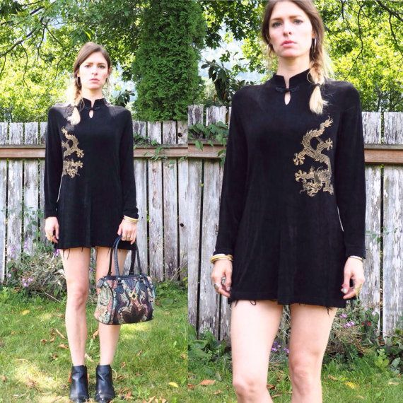 vintage 90's slinky asian tunic // art hoe by MysticClutterVintage