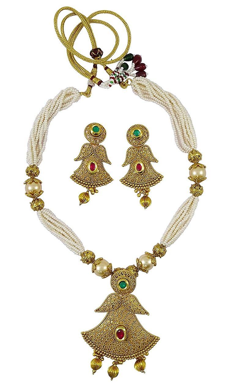 Matra Goldtone Indische Frauen Wulstige Lange 2 Pc Halsketten Ohrring Gesetzte Traditionelle Schmucksachen