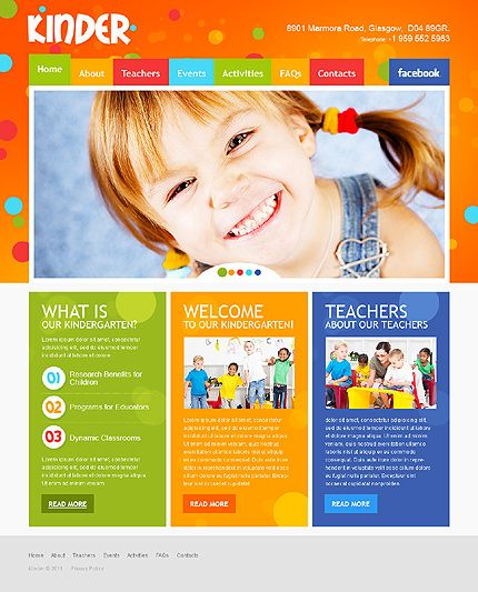 Kinder Children Website Templates by Mercury