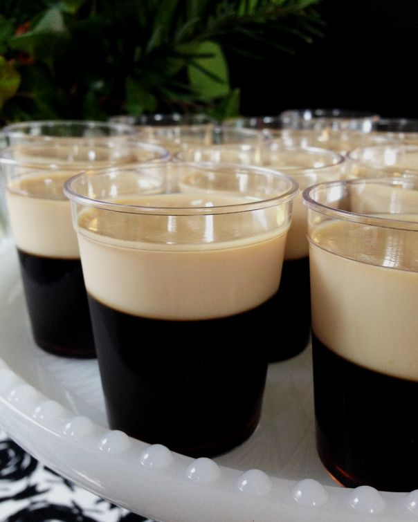 These Baby Guinness Irish Coffee Jell-O Shots are a fun alcoholic dessert treat that would be perfect for a St. Patrick's Day party.