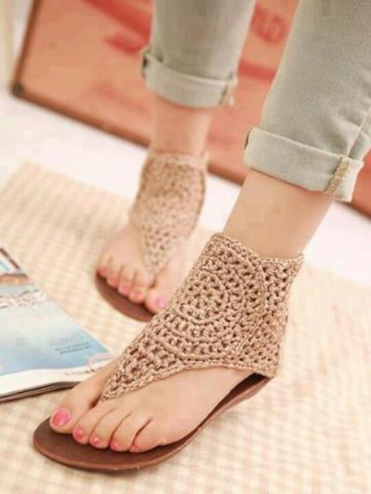 White Crochet Flat Shoes