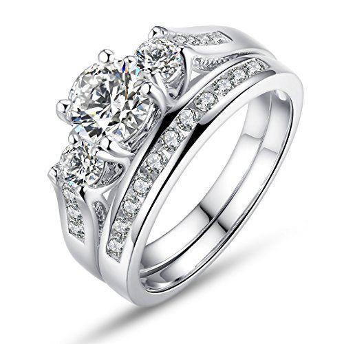 Bamoer Set of 2 18K White Gold Plated Princess Cut Big Round Cubic Zirconia 3 Stone Engagement Wedding Ring Set for Her Women Girls Sizes 6 to 9 #Engagement-Rings http://www.weddingdealusa.com/bamoer-set-of-2-18k-white-gold-plated-princess-cut-big-round-cubic-zirconia-3-stone-engagement-wedding-ring-set-for-her-women-girls-sizes-6-to-9/13852/?utm_source=PN&utm_medium=jillweddings+-+engagement+rings&utm_campaign=Wedding+Deal+USA