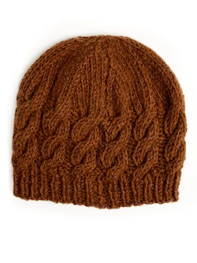 Cable Beanie knitting pattern: British alpaca wool yarn cable beanie knitting kit - free pattern