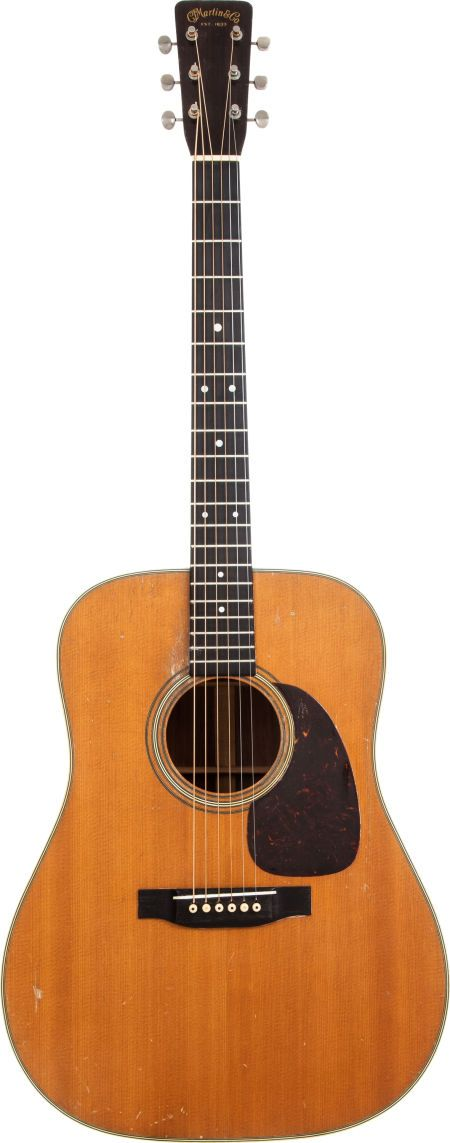1955 Martin D-28 Natural Acoustic Guitar, Serial # 144523. All original finish with medium nicks, dings and scratches.