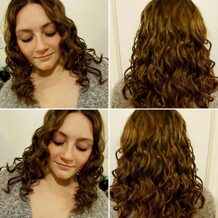 Love doing this gorgeous girl's hair. Beautiful, thick, luscious locks curled using a curling wand