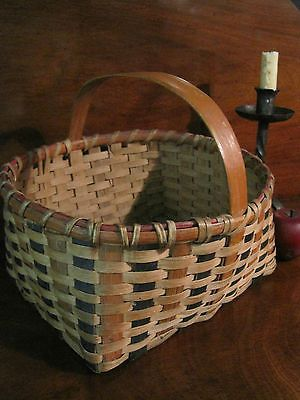 Antique 1800s Native American CHEROKEE Decorated Woven Splint Basket Sold North Bayshore Antiques