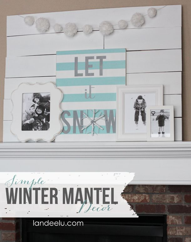 A simple winter mantel display using wintery photos of kids! Get those photos printed and on display this season!: