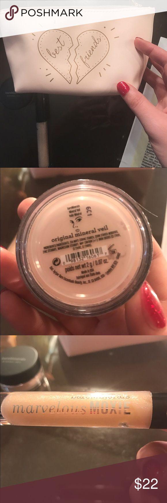 "Bare Minerals set Cute pink travel bag with brand new Mineral Veil & ""Best Friend"" gloss bareMinerals Makeup"