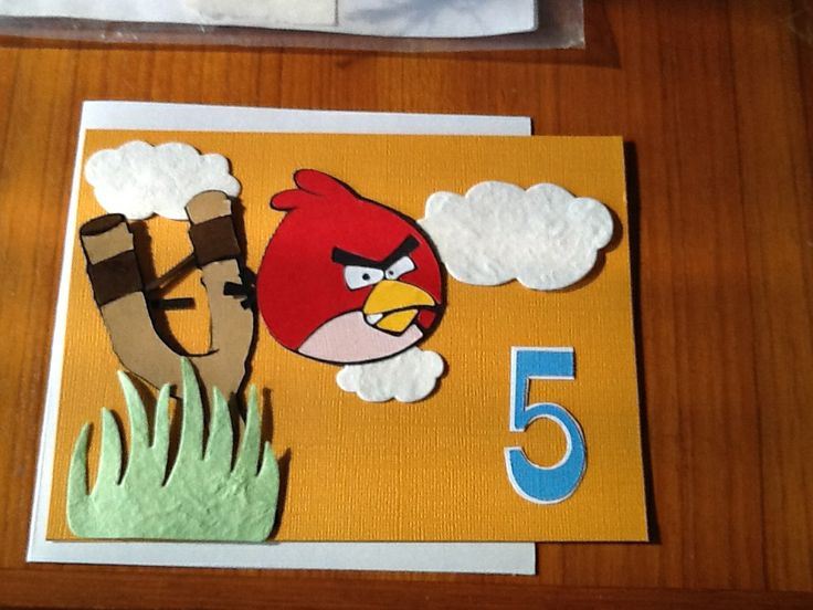 My first card using my Gazelle - I was an angry bird by the time I finished it.....