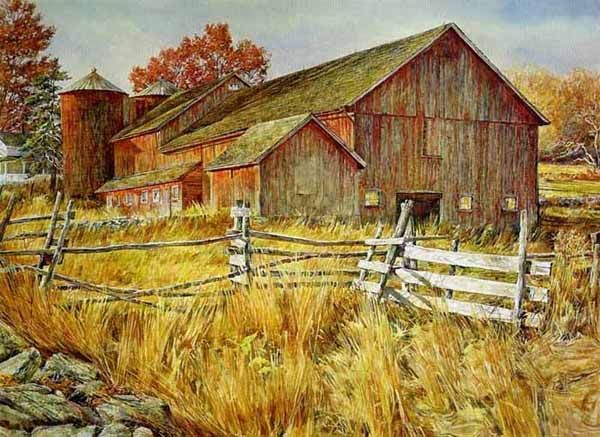 Tobin's Barn by landscape artist David Armstrong available from Snow Goose Gallery