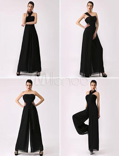 Combinaison noire de demoiselle d'honneur bretelles dos-nu jambe large pantalon en mousseline de soie - Milanoo.com