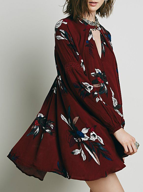 Wine Red Oxblood Baggy Long Sleeve Floral Flowery Dress http://shrsl.com/?~bddp