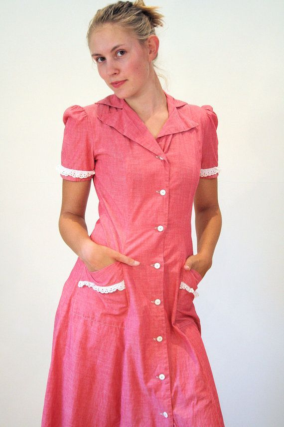 Frau Irene 40er Jahre Kleid Rosa Baumwolle Tag von MorningGlorious