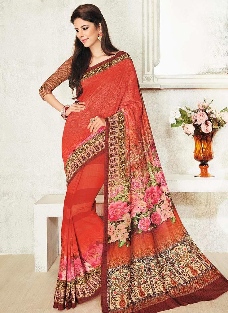 Alluring Print Work Orange Printed Saree