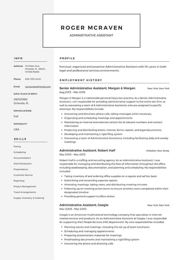 Administrative Resume Template 2019 Free Microsoft Word