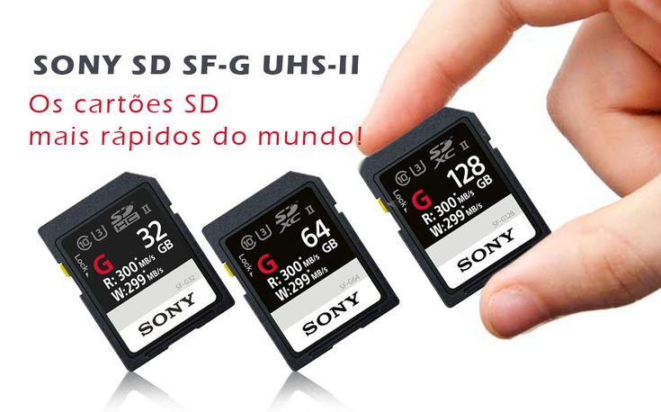Os cartões SD mais rápidos do mundo! A Sony lançou uma nova linha de cartões SD que são os cartões SD mais rápidos do mundo! Impermeável, à prova de temperaturas extremas, choque e vibrações...
