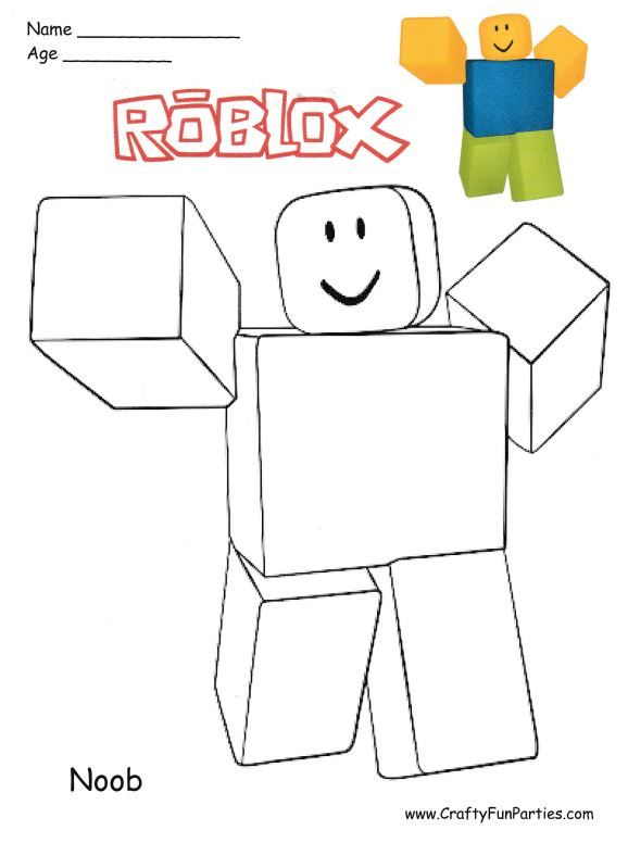Roblox Noob Coloring Page Roblox Coloring Pages Crafts For Kids