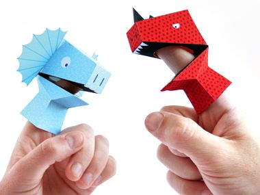 Dino Finger Puppets Kit via My Sweet Muffin paper toys