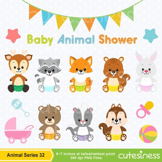 Baby Animal Clipart , Baby Woodland Animals Clipart, Baby shower Clipart