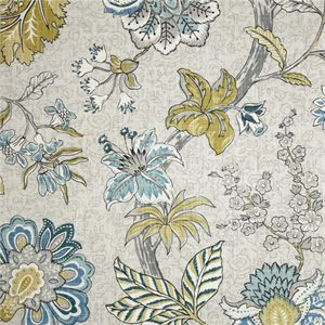 This is a green, gray and blue floral design cotton drapery fabric,suitable for any decor in the home or office. Perfect for pillows, drapes and beddingv164TEF