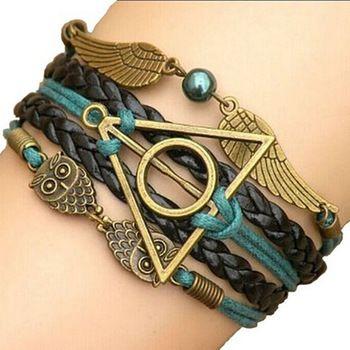 2015 многослойные плетеные браслеты, Старинные сова гарри поттер крылья бесконечность браслет, Многоцветный кожаный браслет и браслет