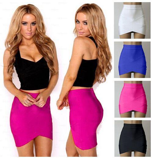 Женщины леди девушка сексуальная женщина карандаш юбки эластичный лето стиль женщины красный арочные микро-мини повязки юбки 2015 юп карандаш