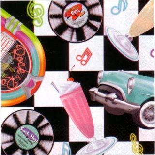 34 - Rock N Roll Sock Hop Lunch Napkins. Pack of 16 Luncheon Napkin Sock Hop LARGE (33cm x 33cm)