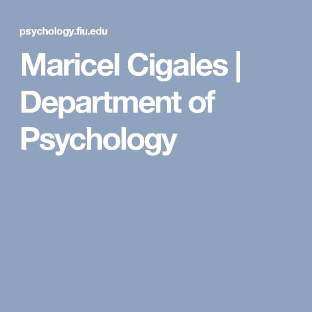 Maricel Cigales | Department of Psychology