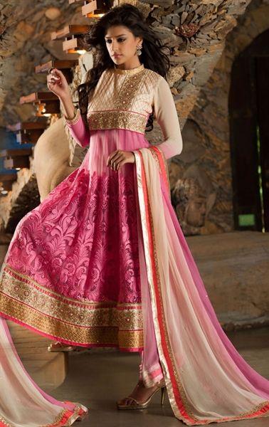 Picture of Appealing Pink Color Anarkali Wedding Salwar Suit Online