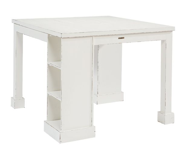 Our Farmhouse Craft Room Table is perfect for homework, crafts or hobbies with its wide top surface and corner storage legs with cubby shelves for project necessaries. And, it's sure to fit in any spot you need it with its relaxed Jo's White paint finish.