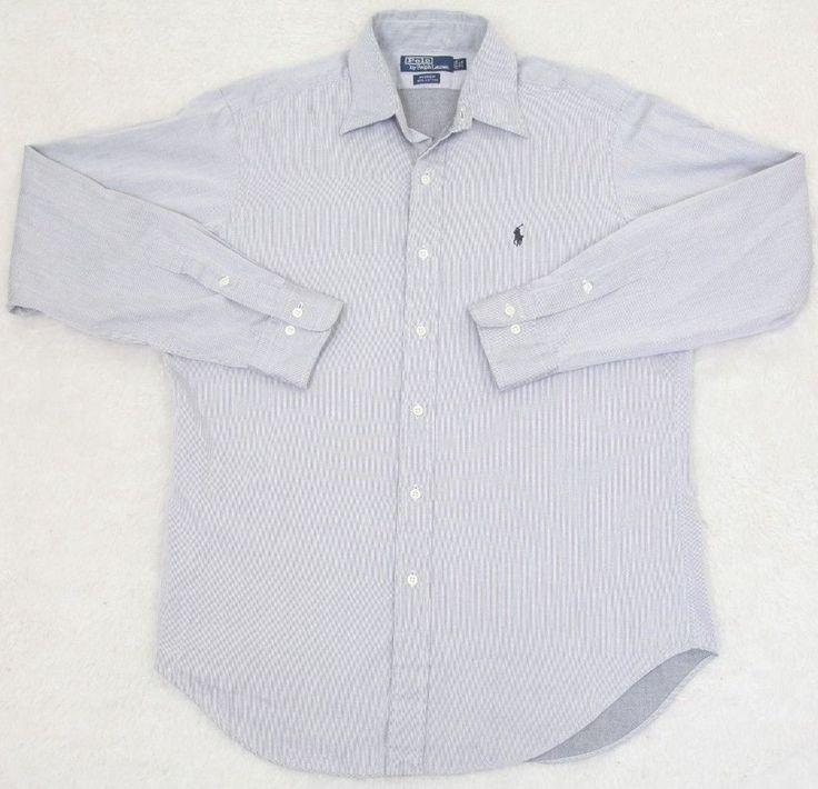 Ralph Lauren Polo Dress Shirt Gray 15.5 34/35 Medium Solid Cotton Mens Andrew #RalphLauren #DressShirt