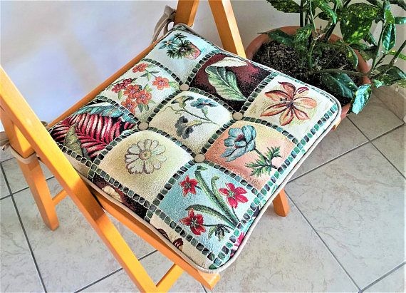 Mixed pattern chair cushion with ties outdoor chair cushions