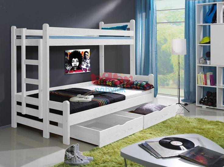 Patrová postel Kevin s rozšířeným spodním lůžkem bílý - Dětské patrové postele