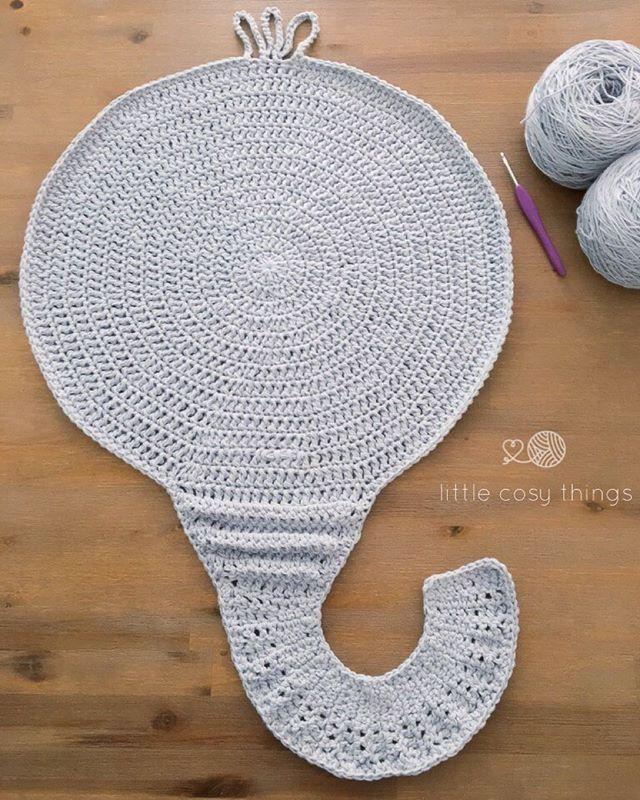 crochet elephant nursery kids rug made by Little Cosy Things @littlecosythings #littlecosythings #LCTrugs #crochet