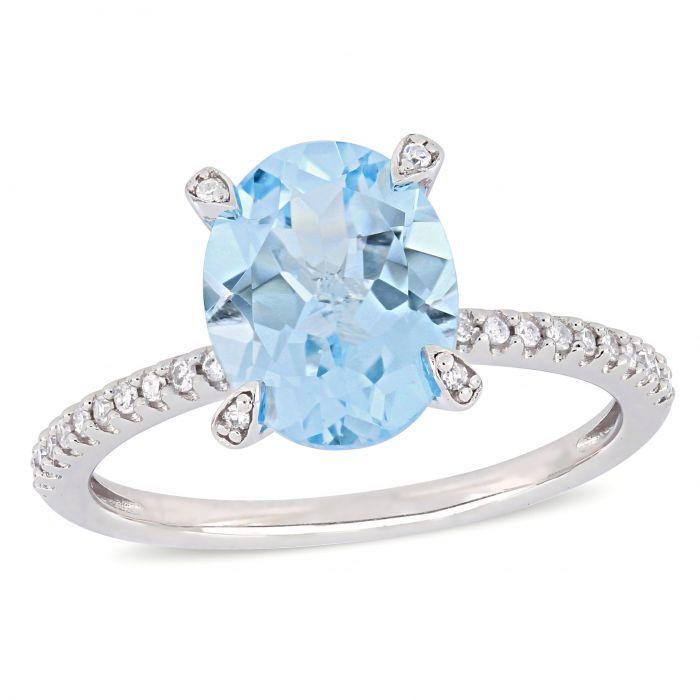 Oval Aquamarine Diamond Engagement Ring In 10k White Gold Sky Blue Topaz Engagement Ring Blue Topaz Engagement Ring Blue Engagement Ring