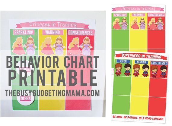 Classroom Decor Pdf ~ Behavior chart printable package princess by