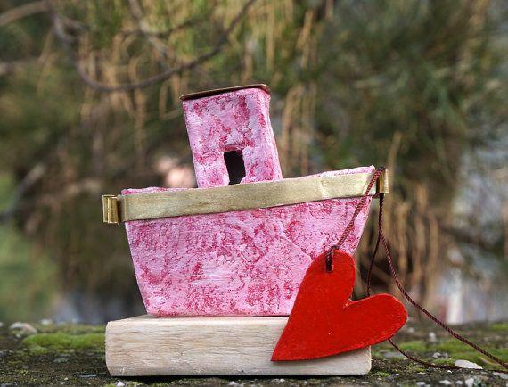 Paper Anniversary Miniature Boat Paper Mache Boat by irineART
