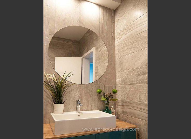 Productie mdf, , amenajare baie, oglinda rotunda.