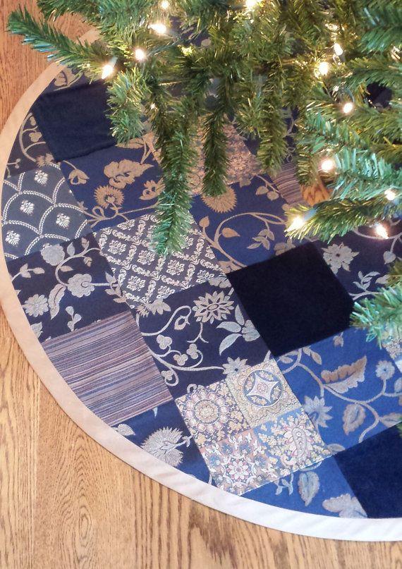 Christmas Tree Skirt in Navy Gold Velvet Damask Patchwork