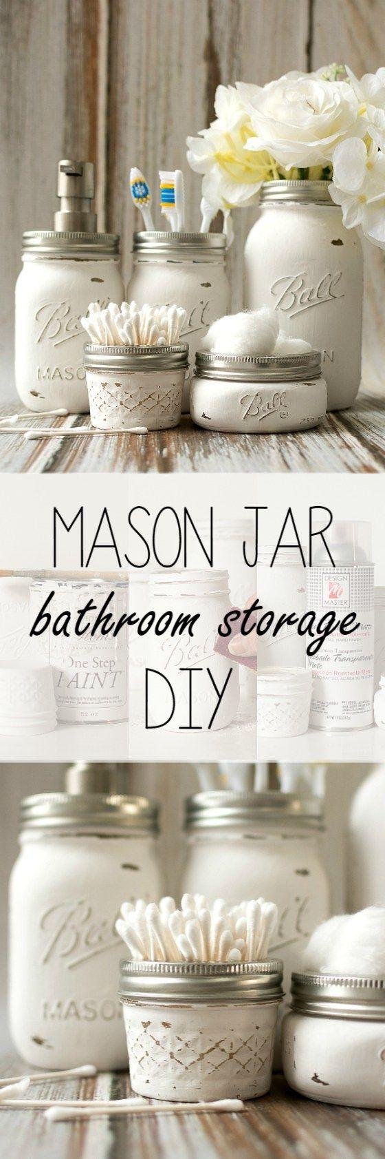 DIY Bathroom Organizer Ideas - Do it Yourself Pretty Distressed Mason Jar Bathroom Organizers Craft Project Tutorial via Mason Jar Crafts Love
